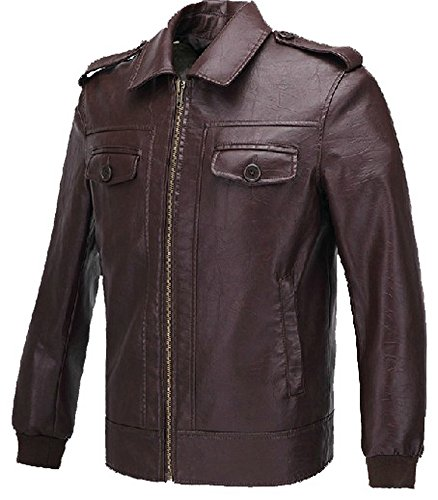 Xcoser Men's Fashion Jacket PU Leather Coat for Adult Halloween Costume Long Sleeve M Brown ()