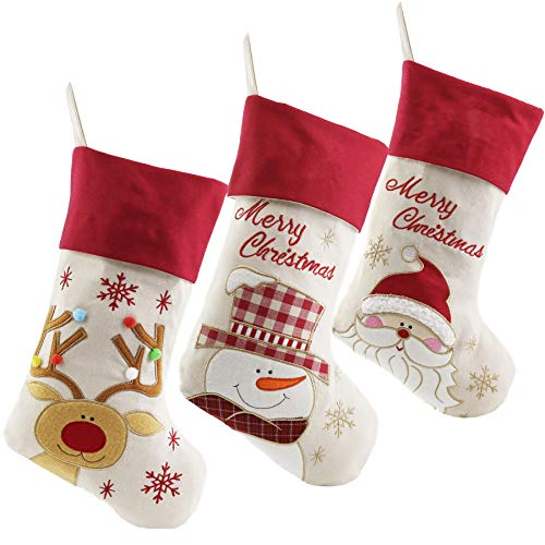 WEWILL Lovely Christmas Stockings Set of 3 Santa, Snowman, Reindeer, Xmas Character 3D Plush Linen Hanging Tag Knit Border (1)