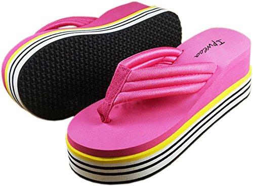 Bettyhome Kvinner Jenter Skli Regnbue Komfortable Remmer Uformell Wedges  Sandaler Stranden Flip Flops Tøfler (8