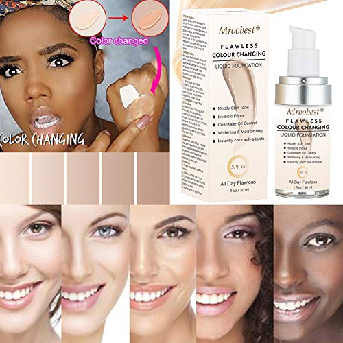 Flawless Finish Foundation, Colour Changing Liquid Foundation, Liquid Foundation Cream, Moisturizing Liquid Cover Concealer for All Skin Types, SPF 15,1 Fl Oz