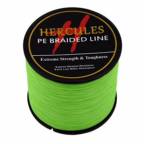 HERCULES 1000m 1094yds Fluorescent Green 6lbs-100lbs Pe Braided Fishing Line 4 Strands (40lb/18.1kg 0.32mm)