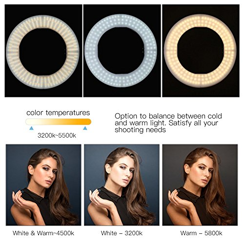 ZoMei Camera Photo Video Lighting Kit 14 inch Dimmable LED Ring Light with Stand & Color Temperature Hot Shoe for Portrait YouTube Video Shooting by TAIROAD (Image #4)