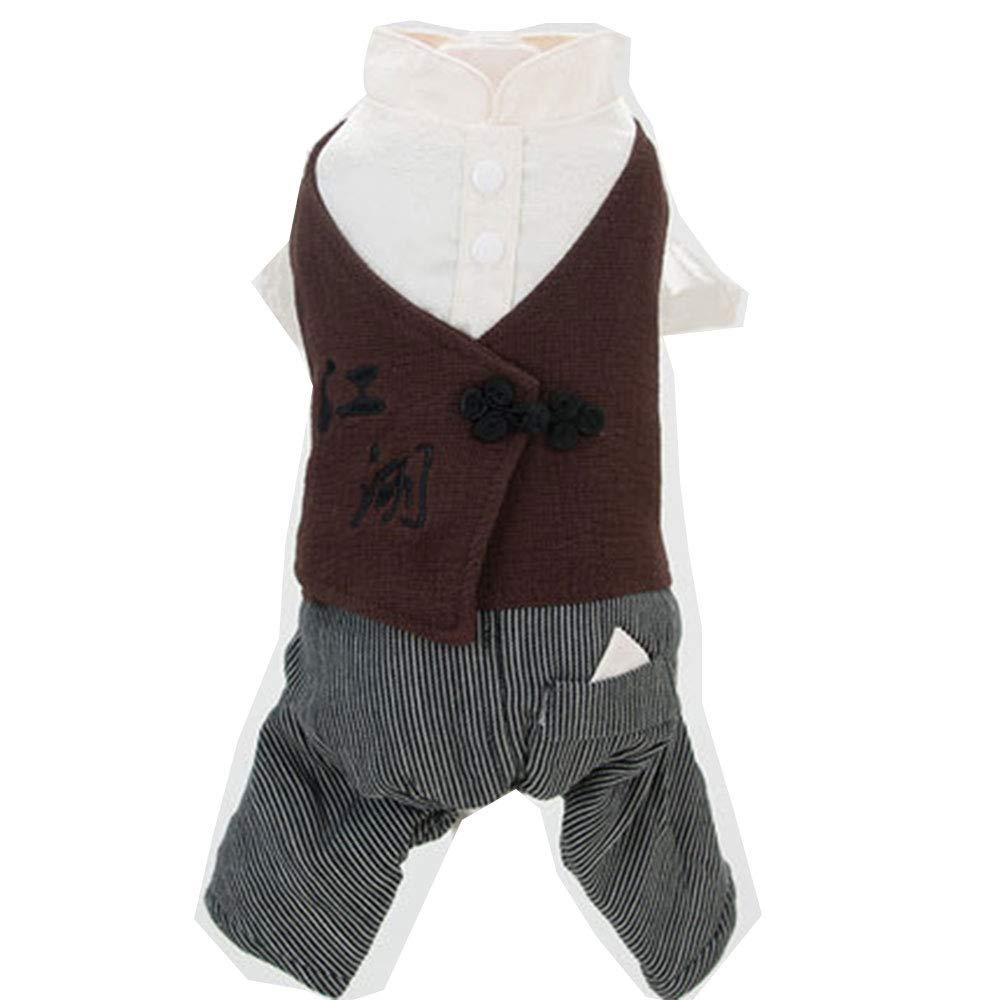 GJFeng Vestiti A Quattro Zampe Stile Cinese Teddy Bomei Autunno Cane Piccolo Cane Vestiti Dell'orso di Spessore Caldo Inverno Caldo Vento Cinese Due Vestiti A Quattro Zampe