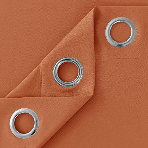 عروض Deconovo Grommet Plush Orange Thermal Insulated Blackout Curtain Panel 52x63 Inch