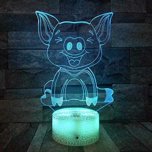 WANGWEIZHEN 3D Pig Lamp Optical Illusion Night Light for Room Decor & Nursery, Cool Birthday Gifts & 7 Color Changing Toys for Girls & Boys