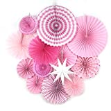 Pink Party Supplies Paper Fans Rosettes Party Baby Birthday Valentine Wedding Bridal Showers Valentine's Event Hanging Decorations 13 Pieces SUNBEAUTY