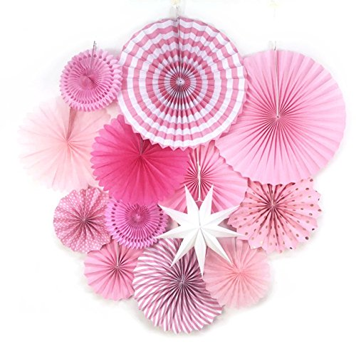 - Pink Party Supplies Paper Fans Rosettes Party Baby Birthday Valentine Wedding Bridal Showers Valentine's Event Hanging Decorations 13 Pieces SUNBEAUTY