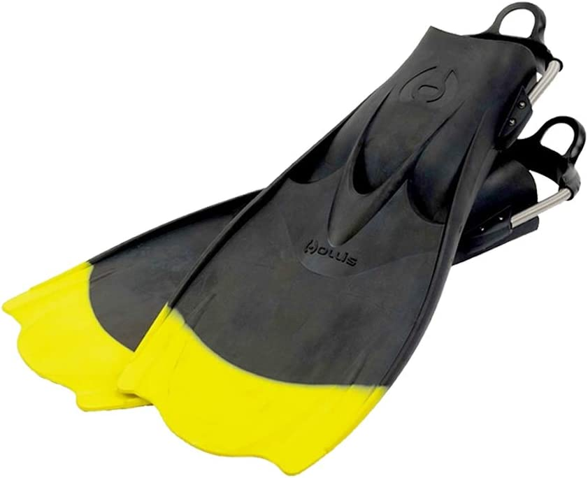 XXL Hollis F1 Bat Fin Yellow Tip Vented Blade Scuba Diving Fin w// Spring Strap Limited Edition