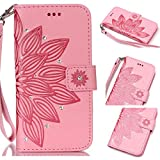 Galaxy S2 Cases,S2 Cases,Abtory Bling Diamond [Wrist Strap] [Card Slot][Stand] PU Wallet Flip Folio [Mandala Flowers] Leather Cover For Samsung Galaxy S2 I9100 Phone Case Pink