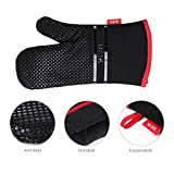 DEIK Oven Mitts, Non-slip Heat Resistant Gloves, Cooking Gloves Larger and Longer for Baking, Barbecue, Grilling, Black, 1 Pair 12.6 × 7.5 Inch