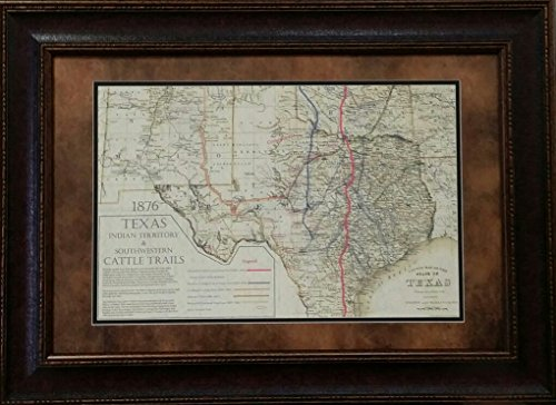 Wall Art Giant Antique and Historic MAPS - Cattle Trail MAP - Double MAT - 26X32 INCHES ()
