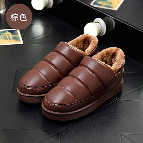 Impermeabili di cotone invernale pantofole pacchetto con un caldo, spessa, antiscivolo accoppia gli uomini e le donne a rimanere a casa il cotone scarpe indoor pelle pu ,35-36 per 34-35,PU Brown