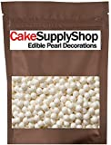 CakeSupplyShop White Pearl Candy Beads Cake and Cupcake Edible Decorations 4 oz