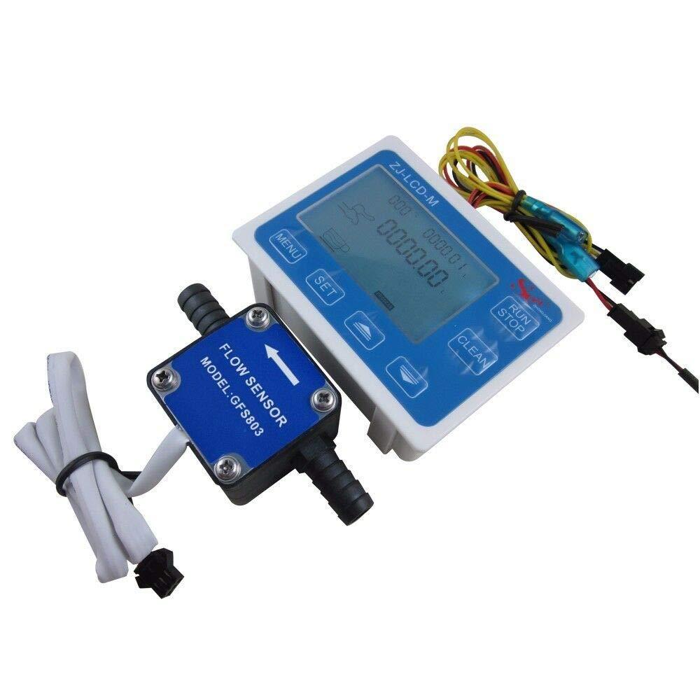 DIGITEN 3/8'' Flow Control LCD Display+Oil Fuel Gasoline Diesel Milk Water Gear Sensor