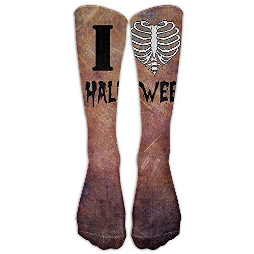 Skeleton Rib Cage I Love Heart Halloween Fashion Leg Warmer Woman Tube Socks Designer Unique Socks