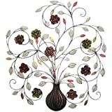 Home Source 400-21890 Decorative Metal Wall Art, Vase with Flowers, 28.66-Inch x 32-Inch