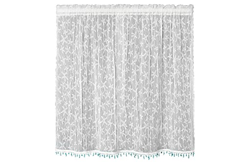Heritage Lace Starfish Tier with Trim, 45 by 36-Inch, White (Window Beachy Treatments)