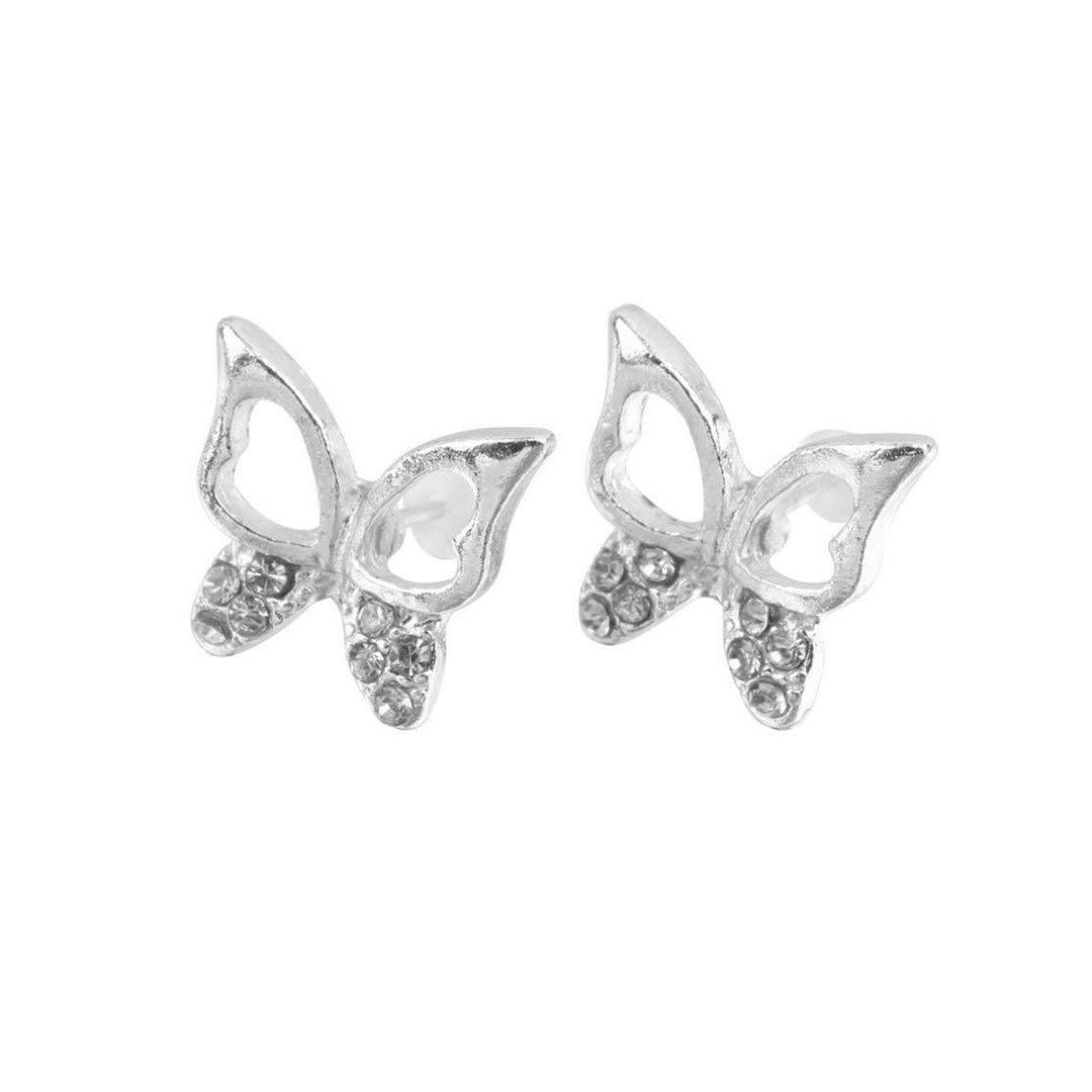 LouiseEvel215 3 pair Fashion Cute Ladies Girls Rhinestone Butterfly Ear Stud Earrings Jewelry Gift brand and Wedding