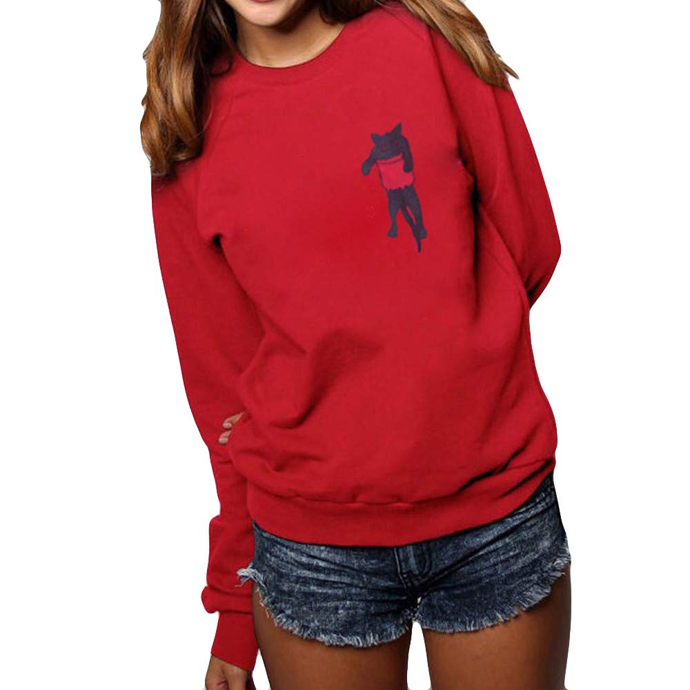 Women Pullover,Ronamick Women O-Neck Cat Print Plus Size Solid Long Sleeve Hooded Loose Blouse Tops Pullover Sweatshirt