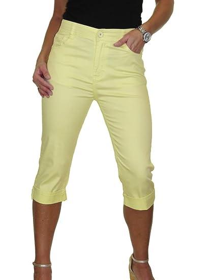 icecoolfashion Ice Jeans Femme Capri Cropped avec Stretch Jaune Jaune 38 à  48 (38) b766a2f1ad7