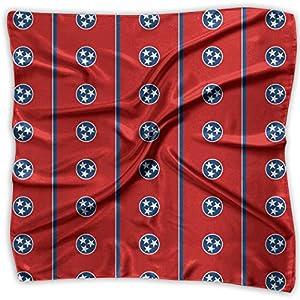 Women Vintage Tennessee Flag Pattern Print Square Handkerchiefs Bandanas Head & Neck Tie Scarf