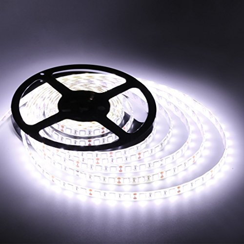 Flexible LED Strip Lights,White,300 Units SMD 5050 LEDs,Waterproof,12 Volt LED Light Strips, Pack of 16.4ft/5m