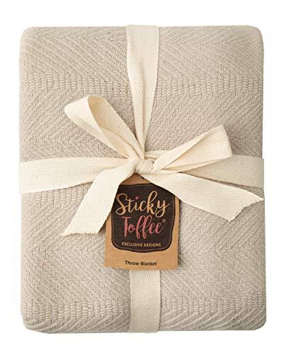 Sticky Toffee Woven Cotton Lightweight Throw Blanket