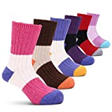 #6: Girls Wool Socks Kids Color Block Seamless Winter Warm Socks 6 Pack
