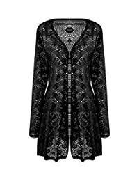 Meaneor Women's Long Sleeve Lace Crochet Knitted Sheer V Neck Open Front Cardigan