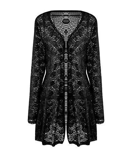 Beyove Women's Sexy Long Sleeve Lace Crochet Sheer Open Front Cardigan Coat Black XXL Lace Sheer Coat