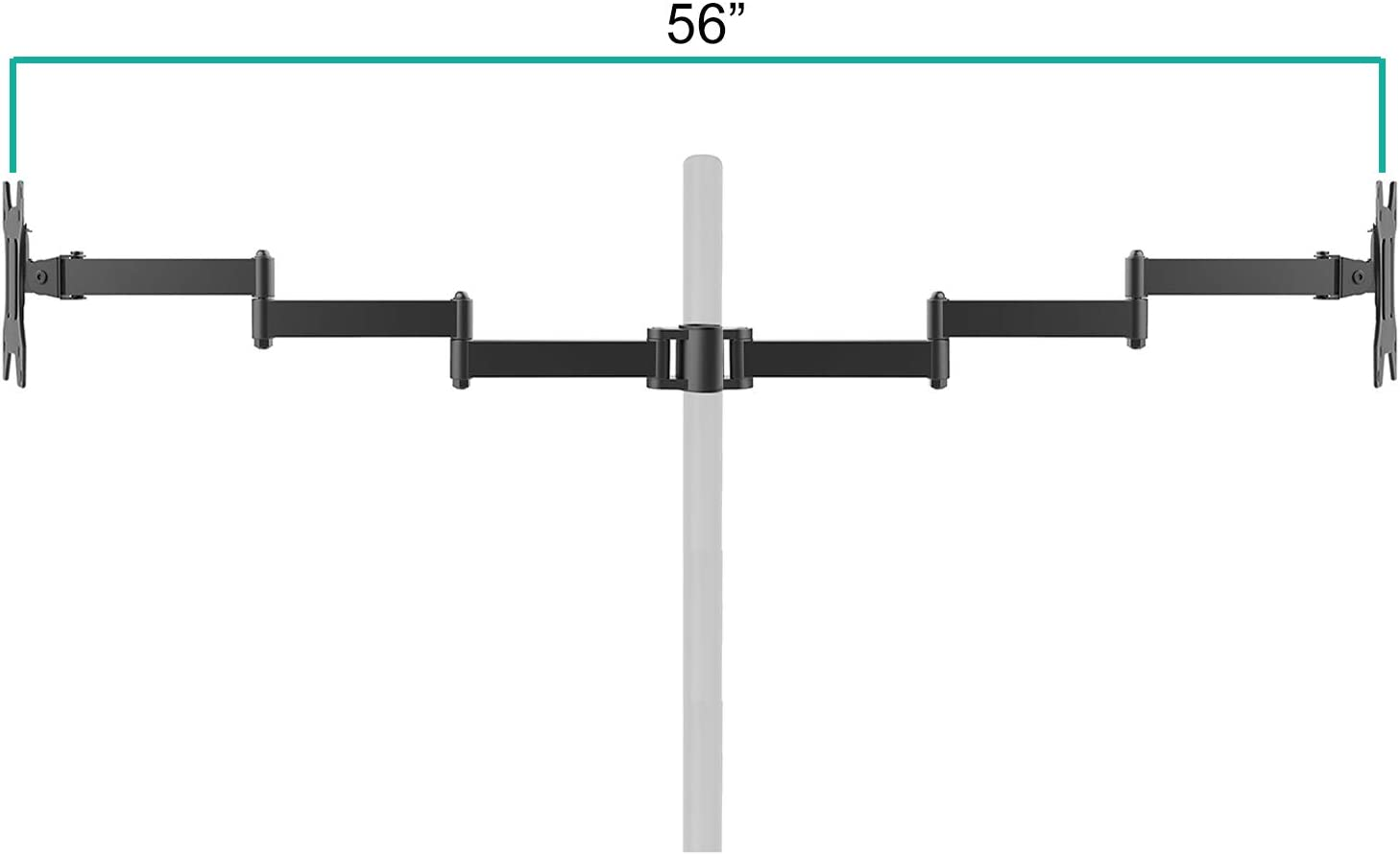 WALI Universal Single Fully Adjustable 3 Tier Arm Accessory for WALI Monitor Mounting System Black 001ARMXL