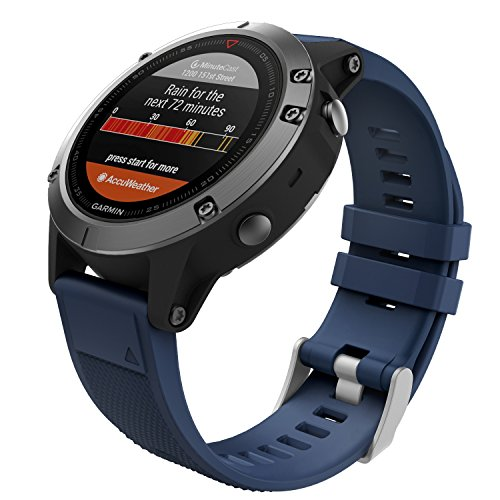 Cheap MoKo Garmin Fenix 5 Quick Fit 22mm Watch Band, Soft Silicone Replacement Strap for Garmin Fenix 5 / Forerunner 935 / Aproach S60 Smart Watch, (Not Fit Fenix 5X 5S), Midnight Blue