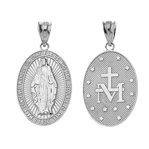 Certified 14k White Gold Miraculous Medal Of Blessed Virgin Mary Catholic Charm Pendant ()