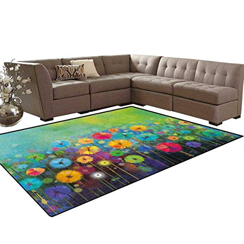 Flower,Rug,Dandelions Featured in Garden with Brushstrokes Watercolored Abstract Landscape Art,Home Decor Floor Carpet,Multicolor Size:6'x9' from smallbeefly