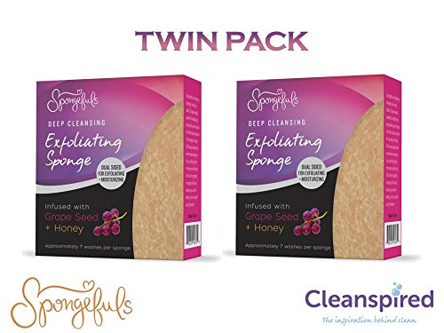 Exfoliating Deep Facial Cleansing Infused Grape Seed + Honey Soap Sponge Spongefuls (2 Pack) (Seed Facial Grape Scrub)