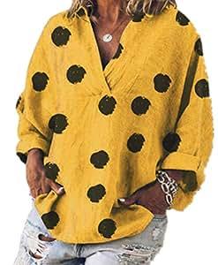 TT WARE Women Casual Polka Dot Print Loose V-Neck Long Sleeve Blouse-Yellow-18