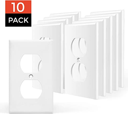 4-Gang Duplex Receptacle Plastic Wall Plate White Unbreakable Face Cover