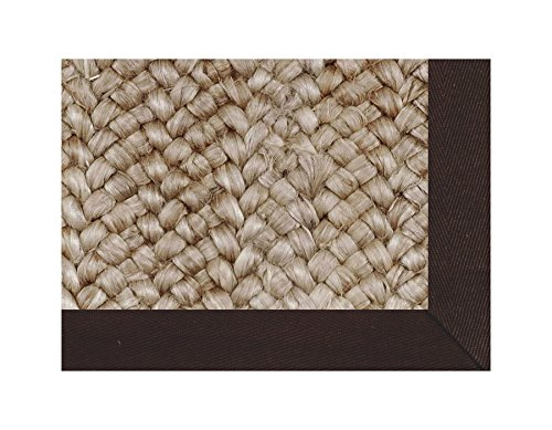 "Taj Kochi Grey Jute Rug/Cocoa Bean Cotton Canvas Border/100% Jute Rug/5""X5"" Sample/Custom Sizes Available"