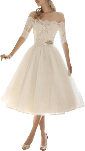 Tayaho Midi Kleid Damen Wort Kragen Sommerkleider Schone Dunner Spitzenkleid A Line Schulterfrei Kleid Einfarbig Elegantes Abendkleid Amazon De Bekleidung