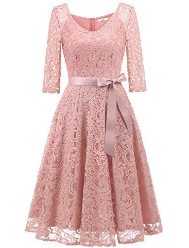 Dressystar 0018 V Neck Lace 3/4 Sleeve Bridesmaid Wedding Guest Dress Slim Waist XS Blush