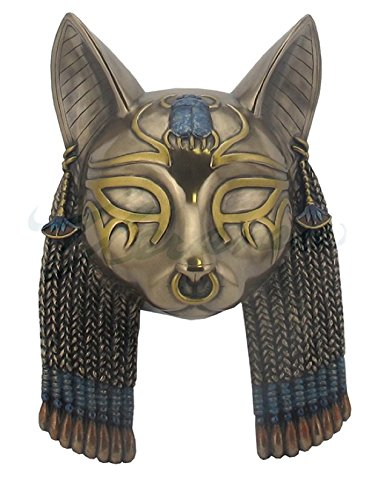 Bastet Mask Egyptian Rustic Wall Plaque Sculpture - cat sculpture