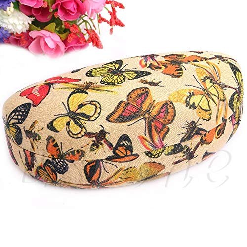 Butterflies Eyeglass Case (Portable Eye Glasses Sunglasses Clam Shell Hard Case Large Box Protector Holder - (Color: Butterfly))