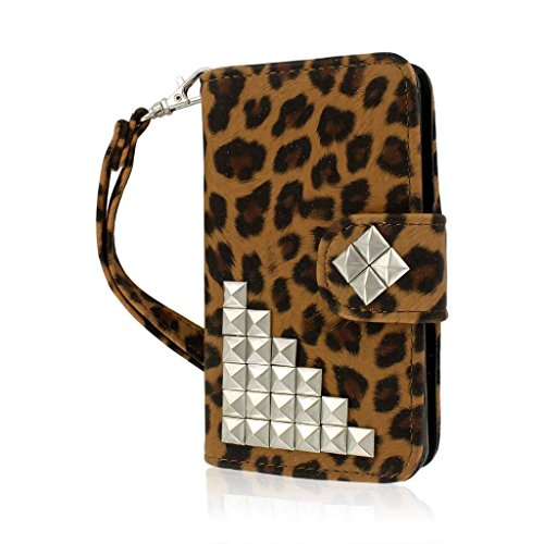 (Empire MPERO Flex Flip Wallet Case for LG Optimus F3 MS659 - Retail Packaging - Studded Leopard)