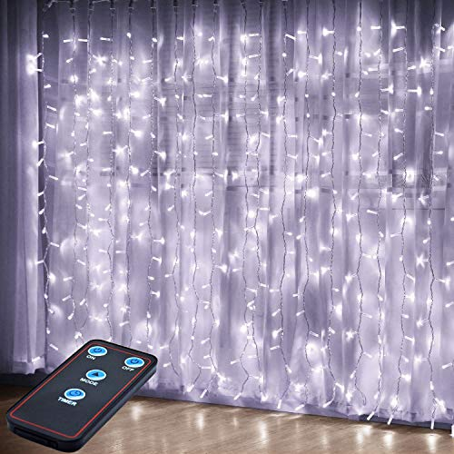 JMEXSUSS Remote Control 300 LED Window Curtain String Light for Wedding Party Home Garden Bedroom Outdoor Indoor Wall Decorations (White) (Lights Curtain Icicle)