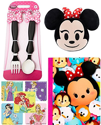 Minnie Mouse Plush Emoji Smiling Face / Sunglasses + Disney Fork & Spoon Pink Bow Flatware Set + Tsum Tsum Notebook & Character - Sunglasses Smiling Face With
