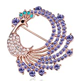 Image of Sojewe Women Peacock Brooch Pin Purple Swarovski Elements Crystal Gold Plated Dress Accessories Gift for Party Girlfriend