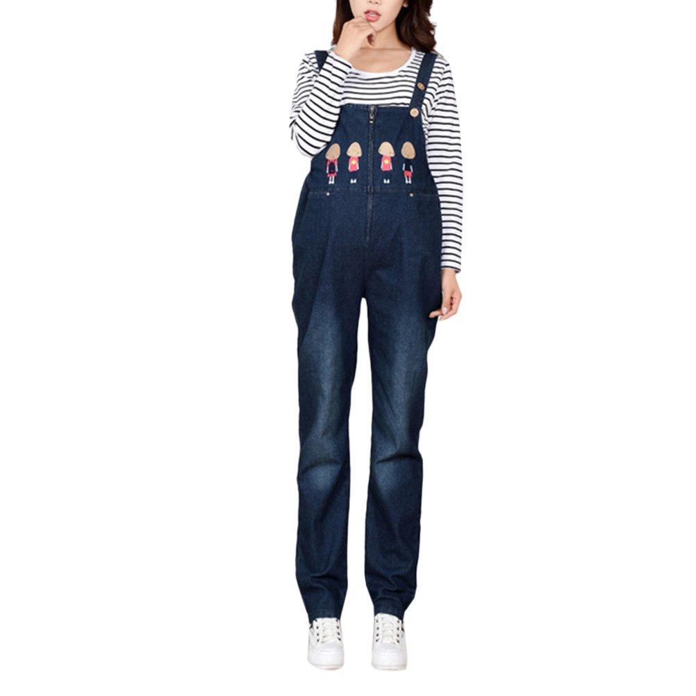 Zhhlinyuan Casual Funny Partten Pregnancy Cowboy Overalls Pants Jeans Dungarees Design Plus