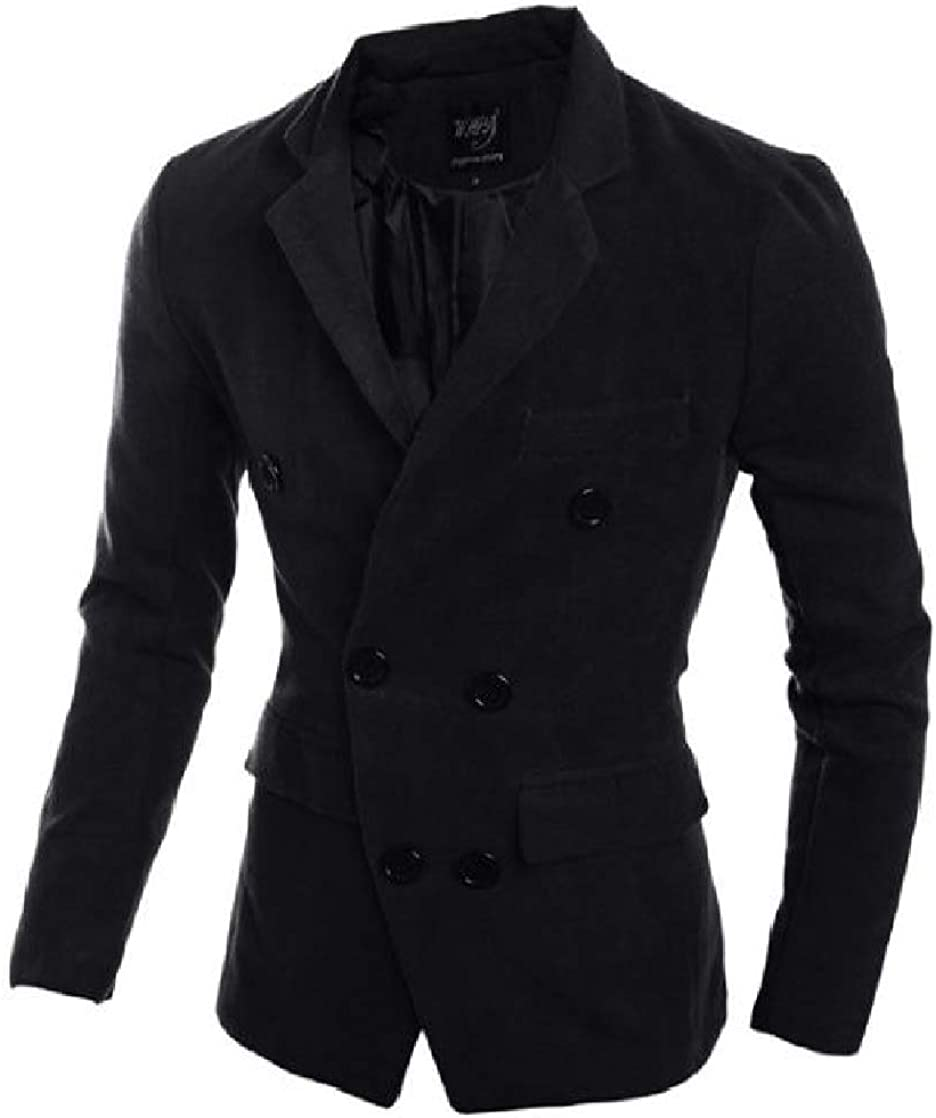 CrazyDay Mens Turn-Down Collar Double-Breasted Stylish Solid Woolen Jacket Outerwear