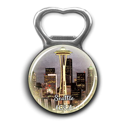 Space Needle Seattle America USA Bottle Opener Metal Fridge Magnet Crystal Glass Round Beer Bottle Opener City Souvenir Home Kitchen Decoration Gifts