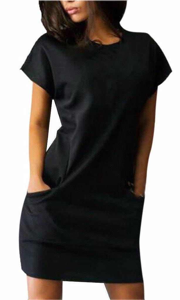 Damen Sommerkleider Kurz Elegant Festlich Mädchen Kurzarm Rundkragen Kleid Für Mollige Hemdkleid Normallacks Mit Taschen Strandkleid Abschlusskleid Blusenkleider Minikleid S-Xl